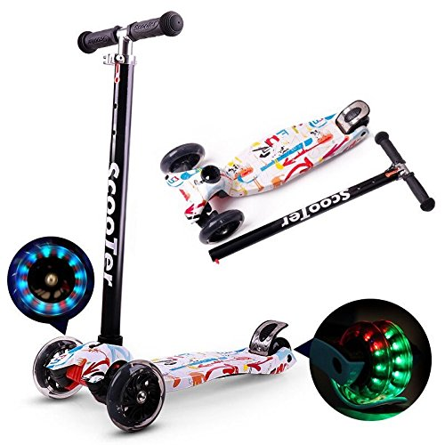 Jipemtra Scooters for Kids 3 Wheel T-bar Adjustable, Riding Kick Scooters for Kids Height Adjustable LED PU Flashing Foldable with Gorgeous Graffiti for Kids (White)
