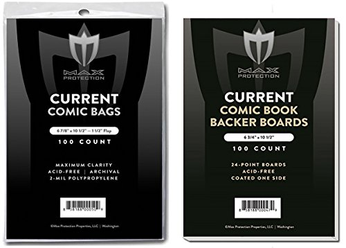 (500) Current Size Ultra Clear Comic Book Bags and Boards - by Max Pro (Qty= 500 Bags and 500 Boards) by Max Protection