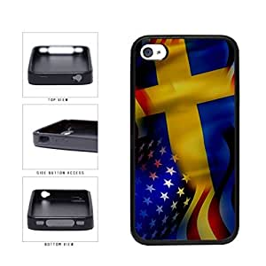 Sweden and USA Mixed Flag TPU RUBBER SILICONE Phone Case Back Cover Apple iPhone 4 4s