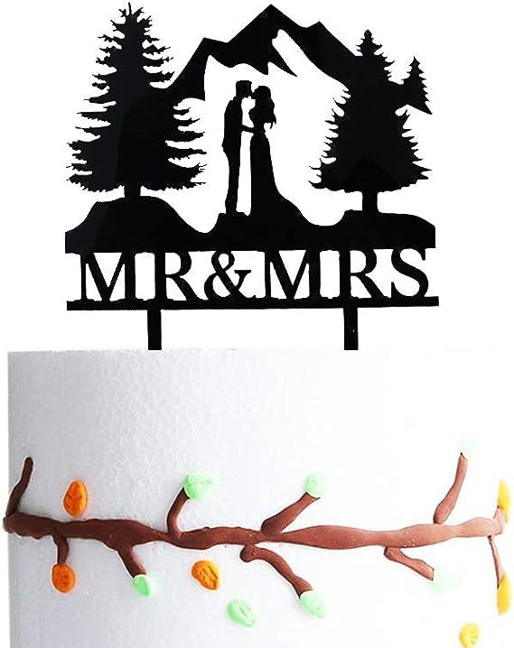 Cake Topper Mountain Wedding Wood