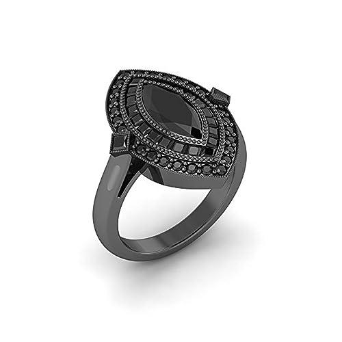 Mejor compromiso anillos de boda en 3,60 ct negro circonita Marquise corte cristal montado