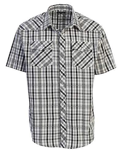 Gioberti Men's Plaid Western Shirt, Black/White/Gray Checkered, Large -