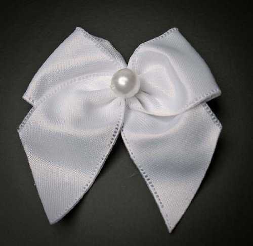 Bulk Package Premade, Ready to Use White Bows with Pearl Bead Center- 144 Total Bows by Unknown