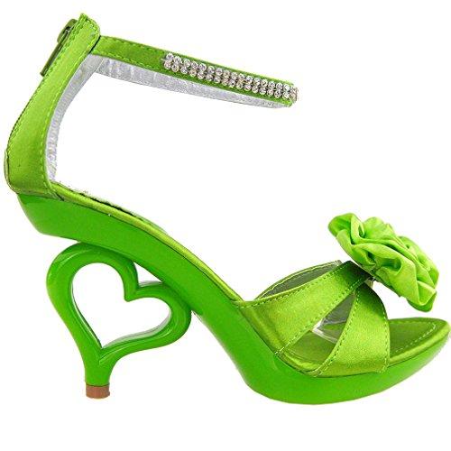 Mostrar historia 20 colores flor desmontable tobillo correa novia sandalias zapatos de boda, SM33101 Verde