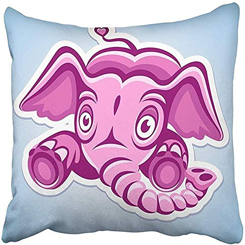 Throw Pillow Cover 18X18 Inch Polyester Red Rose Flying Cartoon Pink Elephant Animal Character Childhood Clipart Drawing Ear Eye Decorative Pillowcase Two Sides Square Print for Home