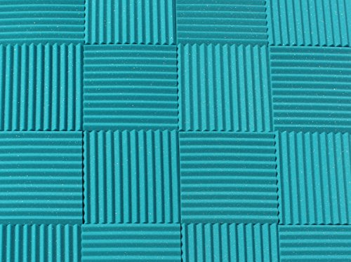 "Soundproofing Acoustic Studio Foam - Teal Color - Wedge Style Panels 12""x12""x1"" Tiles - 6 Pack by SoundAssured"