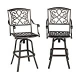 Yaheetech Set of 2 Outdoor Cast Aluminum Patio Chair 360 Degree Swivel Bar Stool Patio Furniture Antique Copper Design