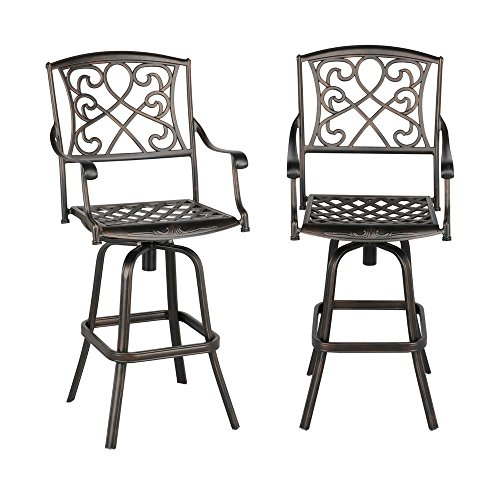 (Yaheetech Set of 2 Outdoor Cast Aluminum Patio Chair 360 Degree Swivel Bar Stool Patio Furniture Antique Copper Design)