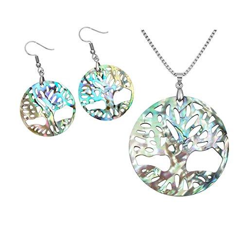 (CrystalTears Abalone Shell Tree of Life Pendant Earrings Necklace Set, for Women Girls )