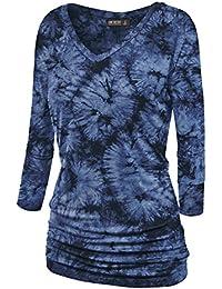 9b6de8e20bd LL Womens 3 4 Sleeve Tie-Dye Ombre Dolman Top - Made in USA