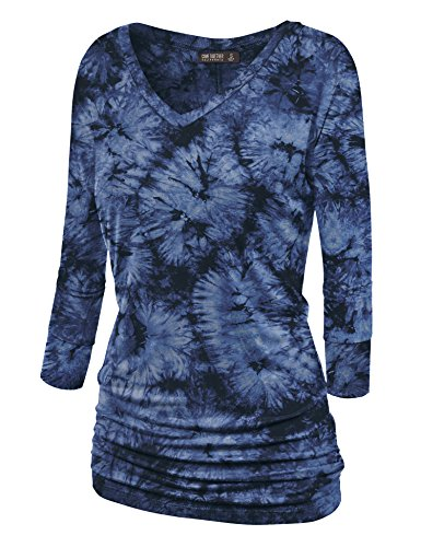 (Lock and Love WT1112 Womens V Neck 3/4 Sleeve Tie Dye Drape Dolman Top with Side Shirring M Navy)