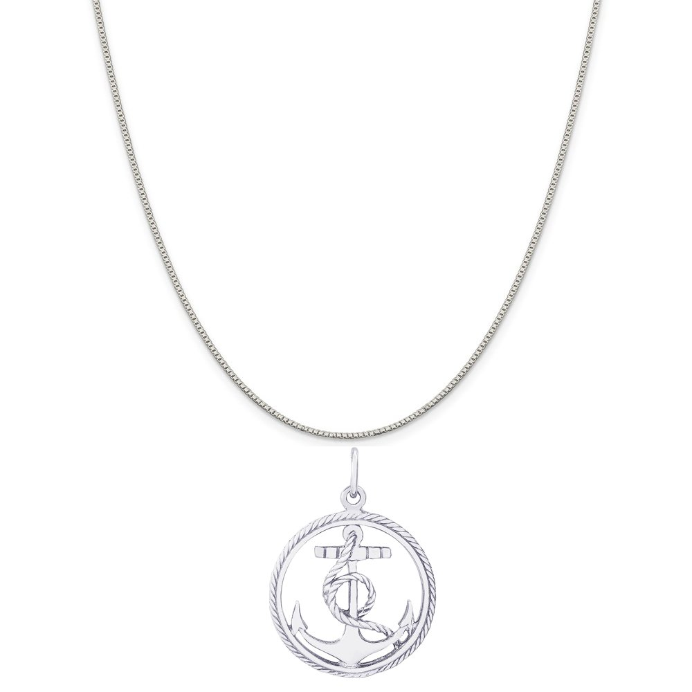 Rembrandt Charms Sterling Silver Anchor in a Circle Charm on a 16 18 or 20 inch Rope Box or Curb Chain Necklace