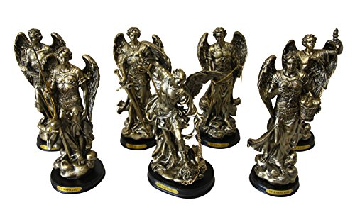 8'' Tall Set of 7 Orthodox Catholic Church Archangel Saint Michael Gabriel Barachiel Sealtiel Jehudiel Uriel Raphael Decorative Figurines by Gifts & Decors