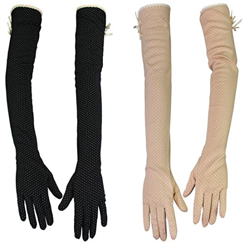 (kilofly Women's Long Anti-UV Breathable Arm Sun Block Driving Gloves, 2 Pairs)