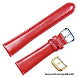 deBeer brand Smooth Leather Watch Band (Silver & Gold Buckle) - Red 17mm