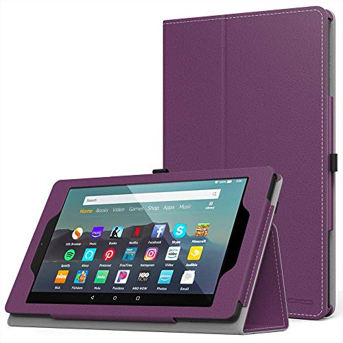MoKo Case Fits Kindle Fire 7 Tablet (9th Generation, 2019 Release), Premium PU Leather Slim Folding Stand Shell Multiple Viewing Angles Cover with Auto Wake/Sleep - Purple
