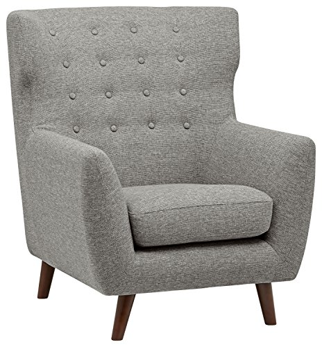 """Amazon Brand – Rivet Hawthorne Mid-Century Tufted Modern Accent Chair, 35""""W, Silver - When it comes to style, you mean business. This fashionable chair is mid-century modern at its best. A tall, tufted back will make your guests sit up and pay attention. 37""""D x 35""""W x 40.9""""H Study hardwood construction, solid beech legs, stain-resistant polyester fabric - living-room-furniture, living-room, accent-chairs - 51bh71wBWDL -"""