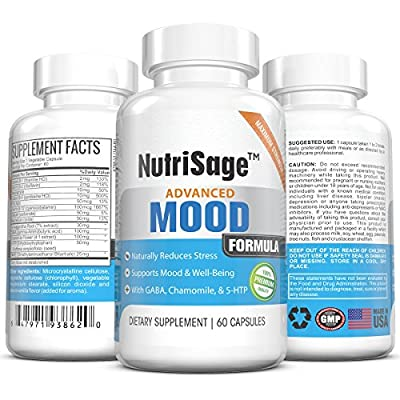 Anti-Stress & Anxiety Relief Natural, Herbal, Vitamin Dietary Supplement By NutriSage - Supports Mood Enhancement, Calmness & Well Being - Contains Chamomile, GABA & 5-HTP - Made In USA - 60 Capsules