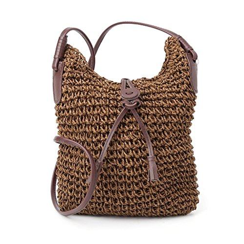 Shoulder Handbag Beige Tote Hobo Straw Bag Coffee Weave Crossbody Bag Women Lady Purse Shoresu Beach 5YnxwEY