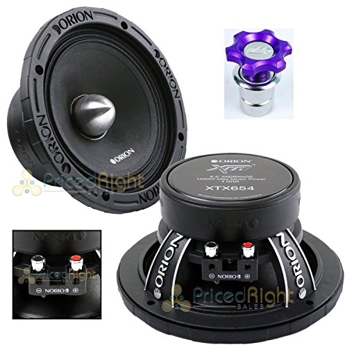 Orion XTX654 6.5' 1400 Watts High Efficiency Midrange Mid Range Bass Loud 4 Ohm Car Audio Speakers - Pair with Free Cigarette Lighter Included