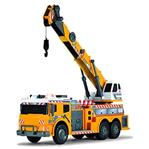 """Dickie Toys 24"""" Light and Sound Construction Crane Truck (With Moving Ladder)"""