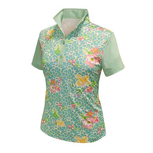 Monterey Club Ladies Dry Swing Vivid Flower Leopard Print Block Shirt #2364 (Fairest Jade, Medium)