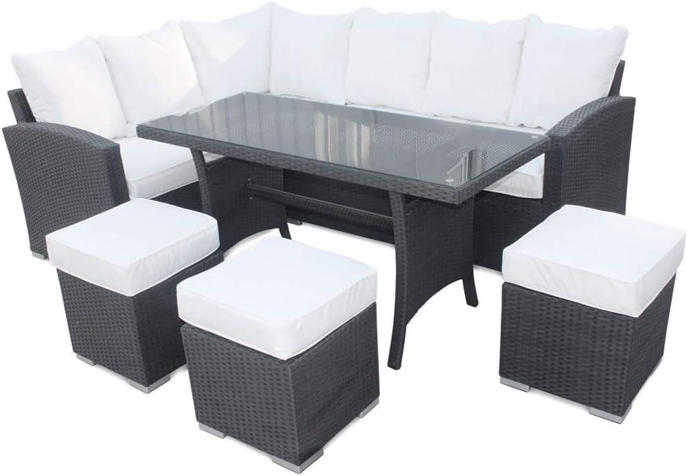 Roe jardines – sofá ratán con mesa de comedor y sillas, 9 asientos de jardín, muebles de invernadero, negro: Amazon.es: Jardín