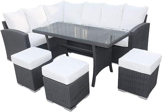 Roe jardines – sofá ratán con mesa de comedor y sillas, 9 asientos ...