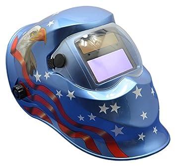 1Pieza soldadura Hemet Filtro Objetivo y sensibilidad regulable ajuste de oscurecimiento automático máscara de soldador azul Eagle Star TIG MIG ARC: ...