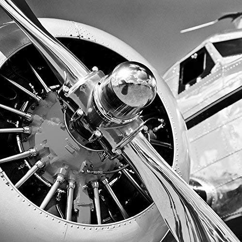 Plane Propeller Military Fighter Aviation Black and White Photograph or Canvas