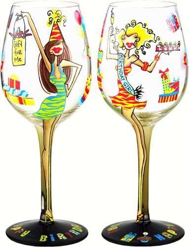 Bottoms Up 15 Ounce Birthday Girl Handpainted Wine Glass