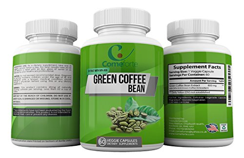 Best Formula to Support Weight Loss - Green Coffee Bean Extract - 100% Pure & Natural - Premium Quality 800 Mg Supplement with 50% Green Coffee Antioxidant - For Women & Men – 60 Veggie Capsules by Comeforte