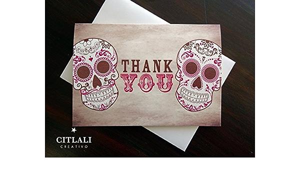 Kraft Sugar Skulls Thank you cards Set of 4 or 12 Blank Note cards Envelopes