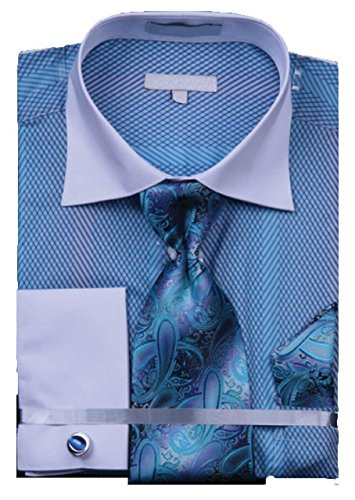 Men's Grid Stripe 100% Cotton French Cuff Shirt Tie Hanky Cufflinks - Turquoise 18.5 34-35