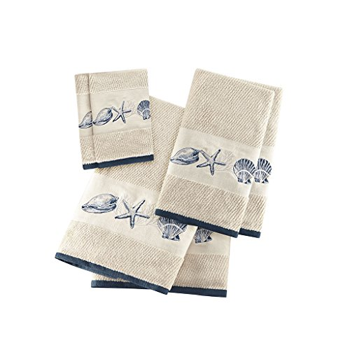 Kitchen Bath Hand Towel - Bayside Cotton Bathroom Towels , Highly Absorbent Bath Towel Set , 6-Piece Include 2 Bath Towels, 2 Hand Towels & 2 Wash Towels , Sea Blue