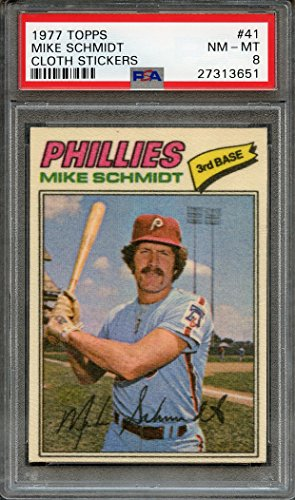 1977 topps cloth stickers #41 MIKE SCHMIDT philadelphia phillies PSA 8 Graded Card (Cloth 1977 Topps)