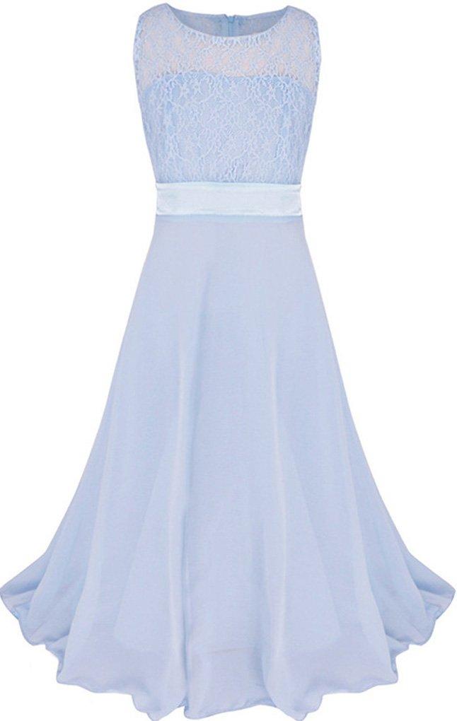 Big Girls Strapless Lace Chiffon Wedding Flower Bridesmaid Long Maxi Dress