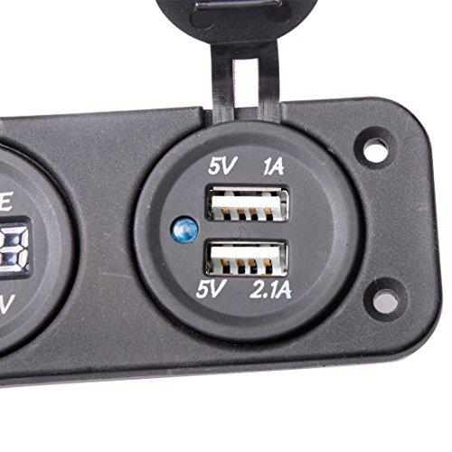 R REIFENG Car DC Digital Voltmeter/Dual USB 2 Port/DC12V Power Socket Three Hole Panel by R REIFENG (Image #6)