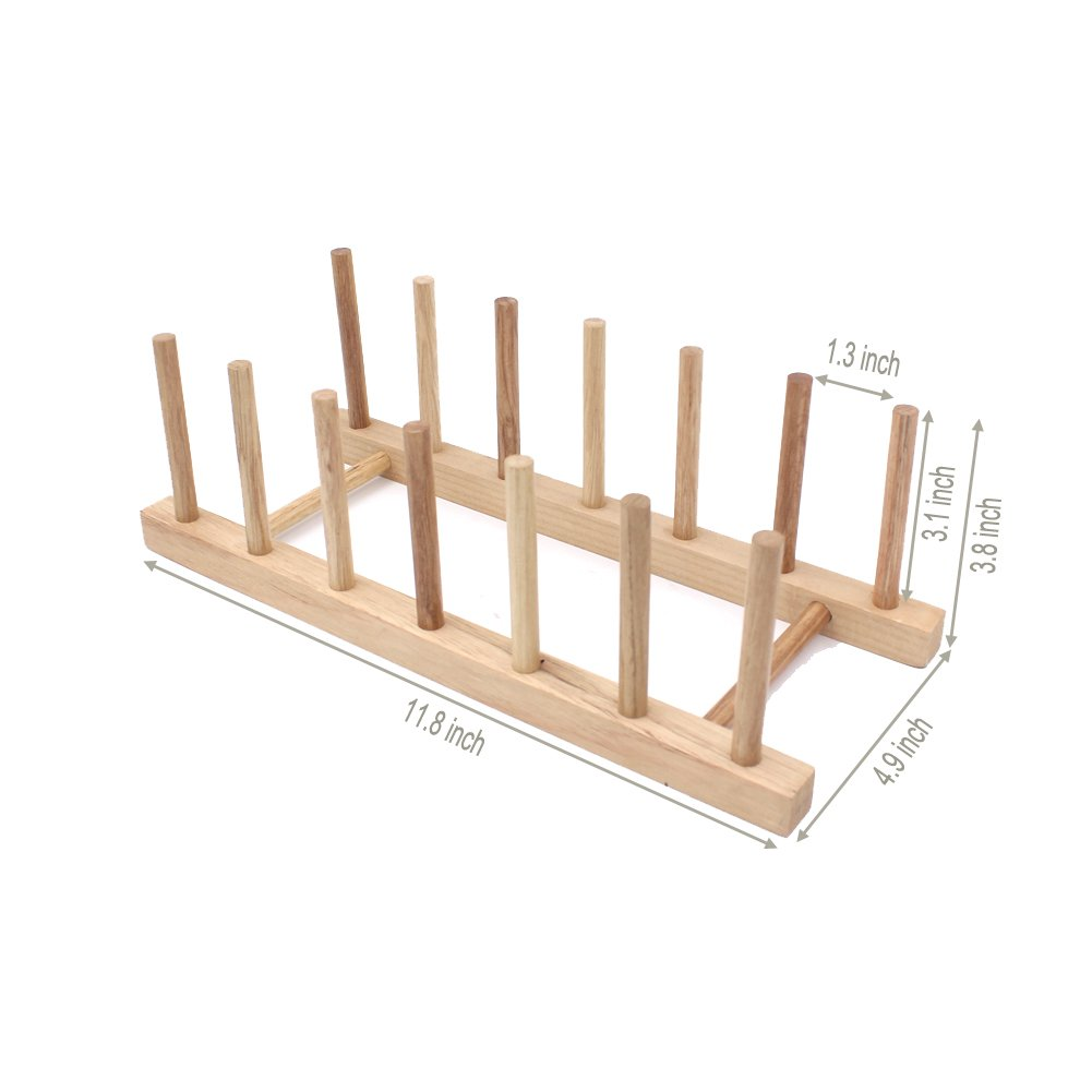 Zicome Set of 2 Bamboo Wooden Dish Rack Plate Rack Stand Pot Lid Holder Kitchen Cabinet Organizer by ZICOME (Image #2)