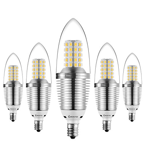 Bogao (5 Pack) LED Candelabra Bulb, 12W LED Candle Bulbs, 85-100 Watt Light Bulbs Equivalent, E12 Candelabra Base,1200 Lumens LED Lights,Torpedo Shape Warm White 3000K