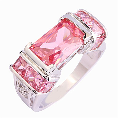 Empsoul 925 Sterling Silver Natural Novelty Created Pink Topaz Engagement Ring Car Shaped