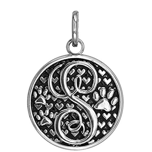 Large Initial Silver Key Ring - S - Large Solid 925 Sterling Silver with Black Finish Szira Collection Paw and Hearts Monogram Initial S Charm, Pendant, Key Ring, for Dog, Cat or Person