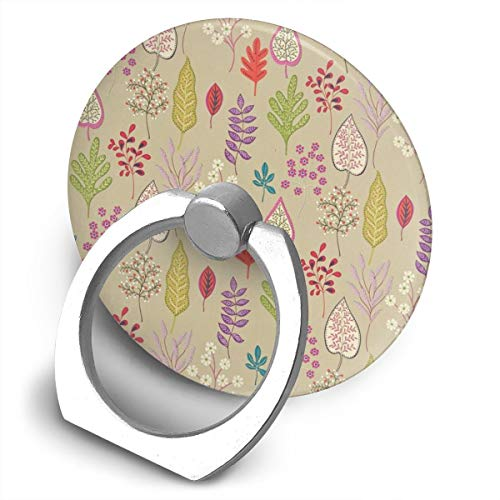 (Markui Cell Phone Finger Ring Holder Colorful Leaves 360 Degree Rotating Stand Grip Mount Phone)