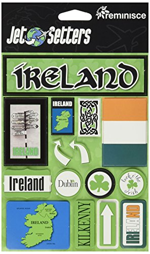 (Reminisce JS-058 Ireland Jet Setters Dimensional Scrapbook Stickers)