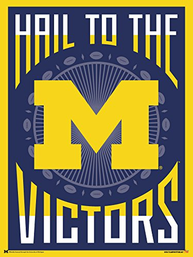 Officially Licensed Michigan Wolverines Pop Art 24x18 Football Poster - Football Pop Art