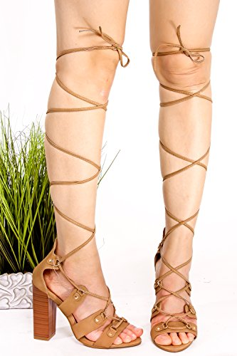 Elegante Suede Open Toe Lace Up Strap Allover Ankle Cutout Design Chunky Heel Zapatos Beige