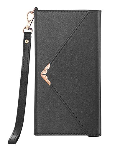 Galaxy Note 8 Case, Galaxy Note 8 Wallet Case, Crosspace Envelope Flip Women Wallet PU Leather Slim Holster Magnetic Folio Cover with Card Holder Wrist Strap for Samsung Galaxy Note 8 Black
