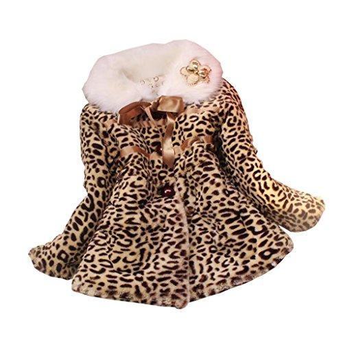 Taiycyxgan Baby Girls Long Sleeve Cotton-padded Leopard Warm Outerwear Coat Snowsuit -