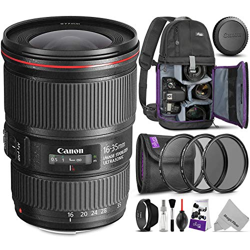 - Canon EF 16-35mm f/4L is USM Lens w/Advanced Photo and Travel Bundle - Includes: Altura Photo Sling Backpack, Filter Kit, Camera Cleaning Set