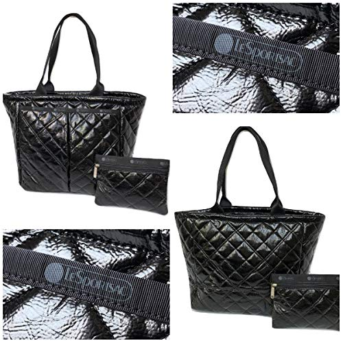 LeSportsac Black Crinkle Quilted Patent Everygirl Tote + Cosmetic Bag, Style 7891/Color ()